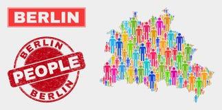 Berlin City Map Population People et timbre corrodé illustration libre de droits