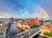 Berlin city with rainbow, Germany Royalty Free Stock Images