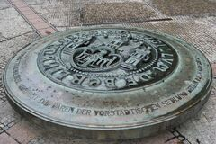 Berlin city seal in front of Saint Nicholas church Stock Photo