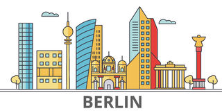 Berlin city skyline. Buildings, streets, silhouette, architecture, landscape, panorama, landmarks. Editable strokes. Flat design line vector illustration Royalty Free Stock Photography