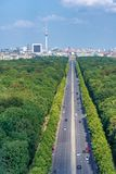 Berlin city skyline with long boulevard on foreground, Germany Stock Photo