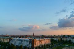 Berlin City Skyline with Pfingskirche in the evening Stock Photo