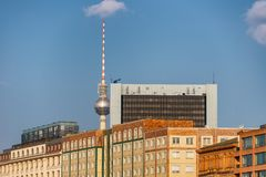 Berlin city skyline with TV Tower.  Royalty Free Stock Photography