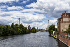Berlin city view from a bridge on Spree river. Stock Image