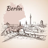 Berlin cityscape with Germany map Stock Images