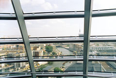 Berlin cityscape from inside Reichstag dome. Berlin cityscape from inside Reichstag glass dome Royalty Free Stock Photo