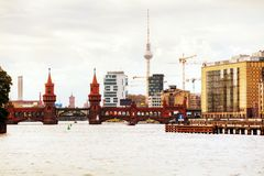 Berlin cityscape with Oberbaum bridge. In the evening Royalty Free Stock Image
