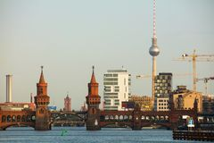 Berlin cityscape with Oberbaum bridge. In the morning Stock Photos