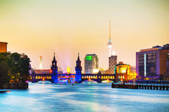 Berlin cityscape with Oberbaum bridge Stock Images