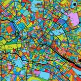 Berlin Colorful Vector Map sul nero Fotografia Stock Libera da Diritti