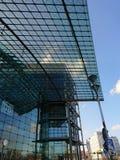 Berlin DB Deutsche Bahn Hauptbahnhof. Berlin, Germany - February 3, 2018: Glass facade of the DB Deutsche Bahn Hauptbahnhof, the main railway station, the Stock Photography