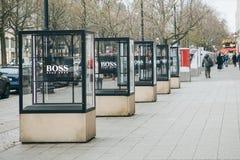 Advertising Hugo Boss on the street in Berlin. Berlin, December 25, 2017: Advertising Hugo Boss on the street in Berlin stock photography