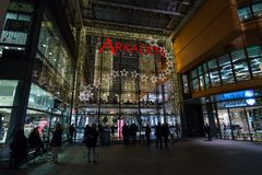 Arkaden - new and modern shopping mall at Potsdamer Platz. BERLIN - DECEMBER 18, 2017: Arkaden - new and modern shopping mall at Potsdamer Platz in the Christmas Stock Photography