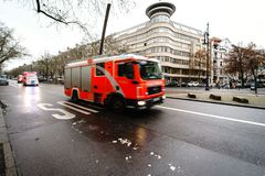 Rescue vehicles are rushing to the rescue. Kurfurstendamm. BERLIN - DECEMBER 21, 2017: Rescue vehicles are rushing to the rescue. Kurfurstendamm. Motion blur Royalty Free Stock Image