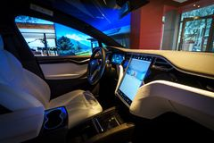 Interior of the full-sized, all-electric, luxury, crossover SUV Tesla Model X. BERLIN - DECEMBER 21, 2017: Showroom. Interior of the full-sized, all-electric Stock Images