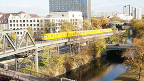 Berlin, Deutsche Bahn. A bahn train in Berlin seen from the terrace of the German Museum of Technology Stock Photo