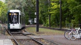 BERLIN, DEUTSCHLAND - Oktober 2018: moderne Tramfahrten auf Schienen Auf dem Hintergrund von gr?nen B?umen Langsame Bewegung stock footage