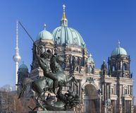 Berlin - The Dom and the bronze sculpture Amazone zu Pferde in front of Altes Museum by August Kiss 1842.  Royalty Free Stock Image