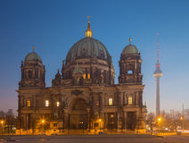 Berlin - The Dom and the Fernsehturm in morning dusk.  Royalty Free Stock Image