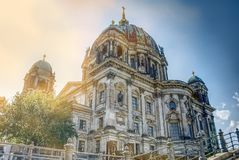 Berlin Dome from the 19. century viewed from the sidewalk down at the Spree river royalty free stock image