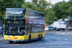 Double decker bus in Berlin. Bus number 104 in motion in Berlin, Germany Stock Image