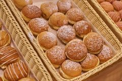 Berlin doughnuts of different types in the supermarket. royalty free stock photos