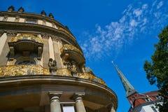 Berlin Ephrain Palais detail and Nikolaikirche. In background at Germany Royalty Free Stock Photos
