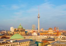 Berlin in evening light with the Doma and Fernsehturm.  Stock Photo