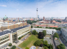 Berlin Fernsehturm from the air.  Royalty Free Stock Photography