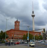 Berlin Fernsehturm Television Tower. BERLIN GERMANY 09 25 17: Fernsehturm Television Tower located at Alexanderplatz. The tower was constructed between 1965 and Royalty Free Stock Photos