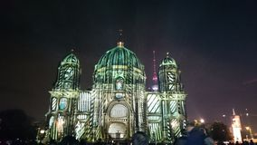 Berlin Festival of Lights. Night, Berliner Dom, Beleuchtung royalty free stock image