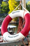 Berlin Fire Department ring buoy. Berlin, Germany - April 19, 2019: Lifebuoy of the Berlin Fire Department Berliner Feuerwehr, the fire department of the German stock images