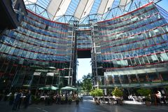 Impressions from the Sony Center at Potsdam square, Potsdamer Platz in Berlin from June 1, 2017, Germany. Berlin, Germany – June 1, 2017 royalty free stock photo