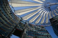 Impressions from the Sony Center at Potsdam square, Potsdamer Platz in Berlin from June 1, 2017, Germany. Berlin, Germany – June 1, 2017 Royalty Free Stock Image