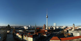 Berlin, Germany. Berlin, district Mitte, with the the red town hall, the television tower (Alexanderplatz) and Nikolaikirche - view from south to north royalty free stock photos