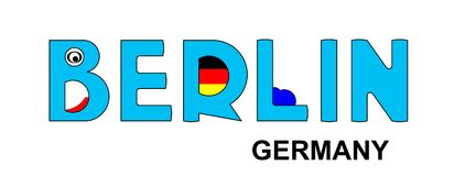Berlin - Germany , abstract inscription in blue Royalty Free Stock Photos