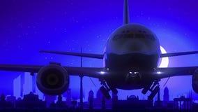 Berlin Germany Airplane Take Off Moon Night Blue Skyline Travel stock video footage