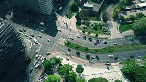BERLIN, GERMANY - APRIL 30, 2018. Aerial down view of city road traffic. BERLIN, GERMANY - APRIL 30, 2018. Aerial down view of road traffic stock footage