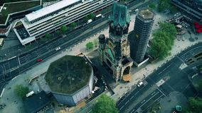 BERLIN, GERMANY - APRIL 30, 2018. Aerial view of ruin of the Kaiser Wilhelm Memorial church as a reminder of World War