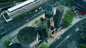 BERLIN, GERMANY - APRIL 30, 2018. Aerial view of ruin of the Kaiser Wilhelm Memorial church as a reminder of World War. BERLIN, GERMANY - APRIL 30, 2018. Aerial Royalty Free Stock Photos