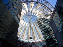 Sony Center. Berlin, Germany - April 9, 2012: detail of the dome that covers the Sony Center at Potsdamer Platz stock photography
