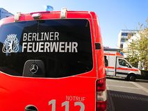 German fire department truck. Berlin, Germany - April 22, 2019: Fire Department and Ambulance first aid. 112 is the single European emergency number that can be stock images