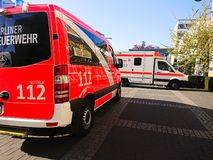 German fire department truck. Berlin, Germany - April 22, 2019: Fire Department and Ambulance first aid. 112 is the single European emergency number that can be royalty free stock images