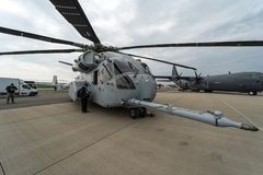 Heavy-lift cargo helicopter Sikorsky CH-53K King Stallion by United States Marine Corps on the airfield. BERLIN, GERMANY - APRIL 25, 2018: Heavy-lift cargo Stock Images