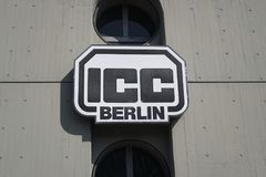 ICC Berlin symbol. Berlin, Germany - April 2, 2018: ICC Berlin symbol. The Internationales Congress Centrum Berlin located in the Westend locality, is one of the royalty free stock photo