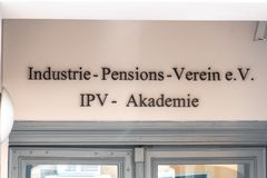 German Industrie Pensions Verein e.V. Berlin, Germany - April 18, 2019: Industrie-Pensions-Verein e.V. sign. Founded in 1925, the Industrial Pensions royalty free stock images
