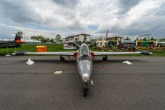 Jet trainer Fouga CM.170 Magister on the airfield. BERLIN, GERMANY - APRIL 25, 2018: Jet trainer Fouga CM.170 Magister on the airfield. Exhibition ILA Berlin Stock Photos