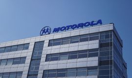 Motorola signage on building exterior. Berlin, Germany - April 2, 2018: Motorola signage on the top of a building. It was an American multinational Royalty Free Stock Photo
