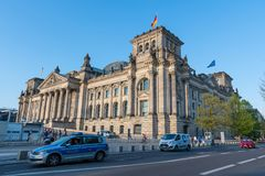 Police cars in front of The German Parliament in city of Berlin stock photography