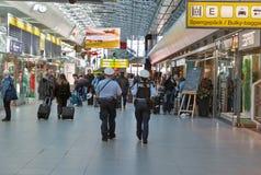 Police in Tegel airport. Berlin, Germany. BERLIN, GERMANY - APRIL 20, 2019: Police patrol in Tegel airport. Police on high terror alert warned to be hyper stock photo